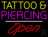 Tattoo and Piercing Open White Line LED Neon Sign