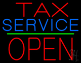 Tax Service Block Open Green Line LED Neon Sign