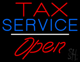 Tax Service Open White Line LED Neon Sign