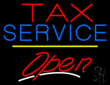 Tax Service Open Yellow Line LED Neon Sign