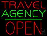 Travel Agency Open Block Green Line Neon Sign