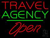 Travel Agency Open Green Line LED Neon Sign