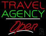 Travel Agency Open White Line Neon Sign