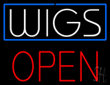 White Wigs Block Red Open LED Neon Sign