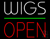 Wigs Block Open Green Line LED Neon Sign