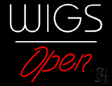 Wigs Open White Line LED Neon Sign
