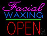 Cursive Pink Facial Waxing Block Red Open LED Neon Sign