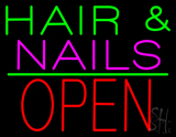 Hair and Nails Block Open Green Line LED Neon Sign