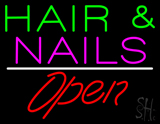 Hair and Nails Open White Line LED Neon Sign