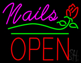 Pink Nails Block Open Green Line Flower Logo LED Neon Sign