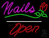 Nails Open White Line Flower Logo LED Neon Sign