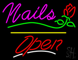 Nails Open Yellow Line Flower Logo LED Neon Sign