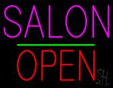 Salon Block Open Green Line LED Neon Sign