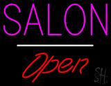 Salon Open White Line LED Neon Sign