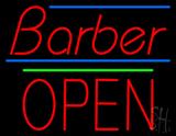 Barber Block Open Green Line LED Neon Sign