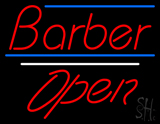 Red Barber Open Blue Lines LED Neon Sign