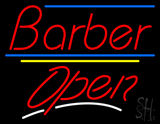 Red Barber Open Blue Yellow Lines LED Neon Sign