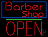 Red Barber Shop Blue Border LED Neon Sign