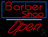 Red Barber Shop Open with Blue Border LED Neon Sign
