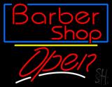 Barber Shop Blue Border Open LED Neon Sign
