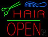 Hair Scissors Comb Block Open Green Line LED Neon Sign