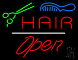 Hair Scissors Comb Open White Line LED Neon Sign