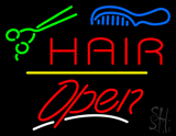 Hair Scissors Comb Open Yellow Line LED Neon Sign