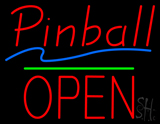 Pinball Open Block Green Line Neon Sign