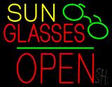Sun Glasses Block Open Green Line LED Neon Sign