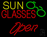Yellow Sun Red Glasses Logo Open LED Neon Sign