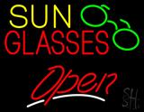 Sun Glasses Open White Line LED Neon Sign