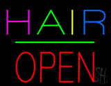 Multi Colored Hair Block Open Green Line LED Neon Sign