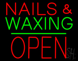 Nails and Waxing Block Open Green Line LED Neon Sign