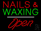 Red Nails and Green Waxing Open White Line LED Neon Sign