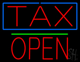 Red Tax Blue Border Block Open LED Neon Sign