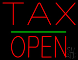 Red Tax Block Open Green Line LED Neon Sign