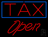 Red Tax Blue Border Open LED Neon Sign