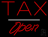 Tax Open White Line LED Neon Sign