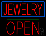 Jewelry Open Block Green Line LED Neon Sign