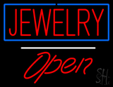 Jewelry Rectangle Blue Open LED Neon Sign
