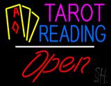 Tarot Reading Open White Line LED Neon Sign