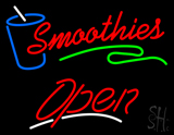 Red Smoothies Open with Glass LED Neon Sign