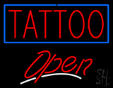Tattoo with Blue Border Open LED Neon Sign