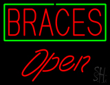 Red Braces Green Border Open LED Neon Sign