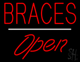 Red Braces Open White Line LED Neon Sign