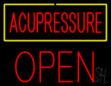 Red Acupressure Yellow Border Block Open LED Neon Sign