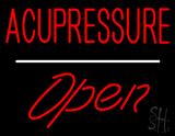 Red Acupressure Open White Line LED Neon Sign