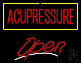 red Acupressure Yellow Border White Line Open LED Neon Sign