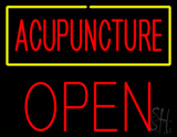 Red Acupuncture Yellow Border Block Open LED Neon Sign