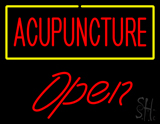 Red Acupuncture Yellow Border Open LED Neon Sign